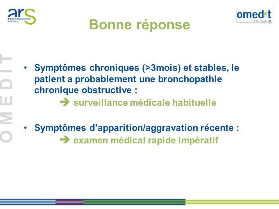 Bonne réponse Symptômes chroniques (>3mois) et stables, le patient a probablement une bronchopathie chronique obstructive :
