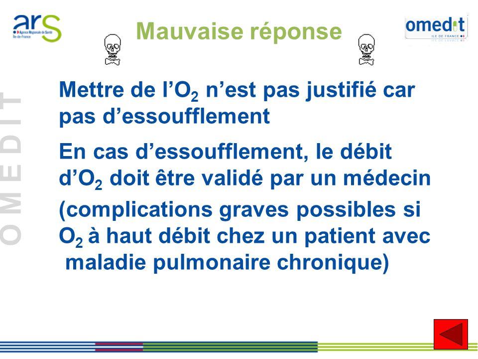 Mauvaise réponse Mettre de l'O2 n'est pas justifié car pas d'essoufflement. En cas d'essoufflement, le débit d'O2 doit être validé par un médecin.