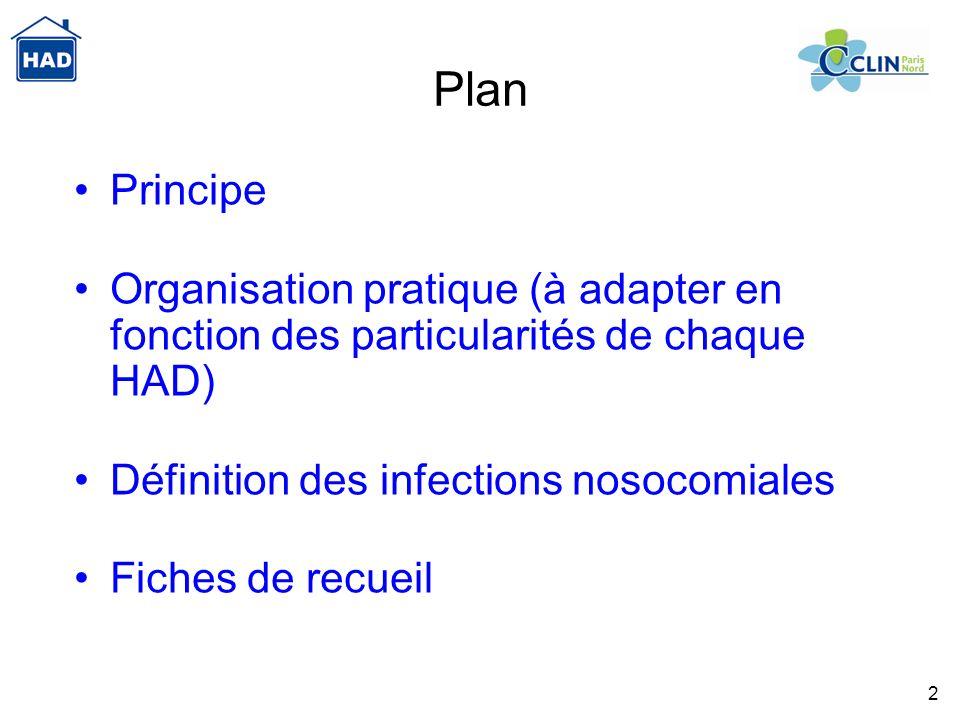 Plan Principe. Organisation pratique (à adapter en fonction des particularités de chaque HAD) Définition des infections nosocomiales.
