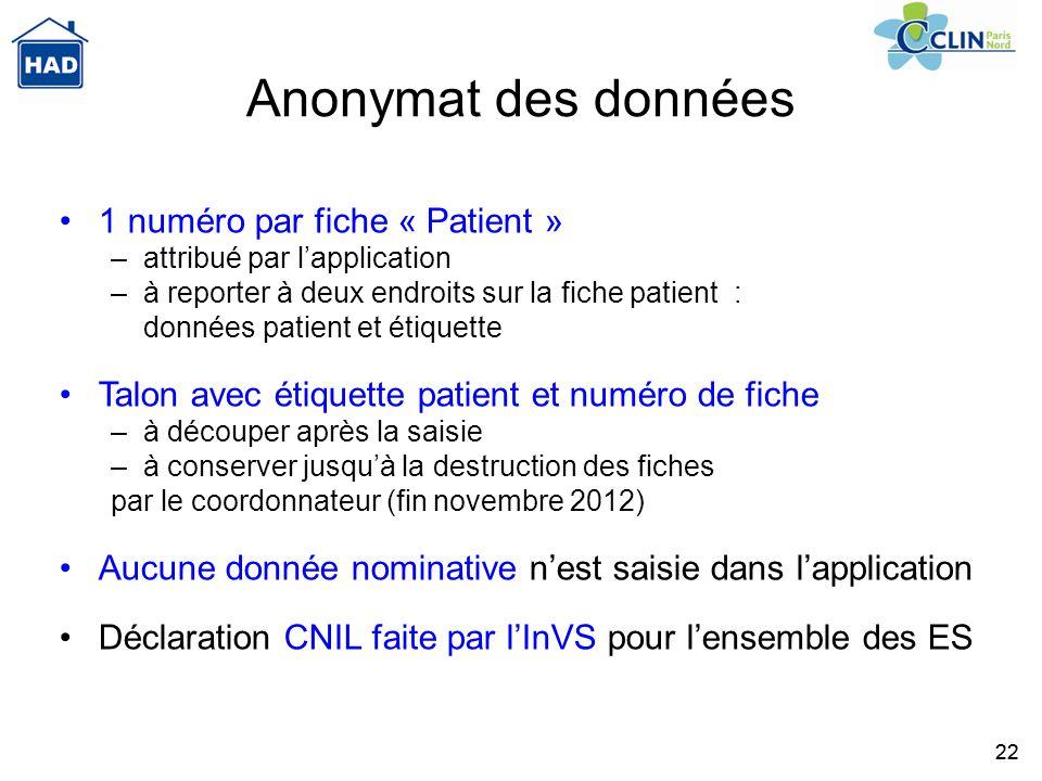 Anonymat des données 1 numéro par fiche « Patient »
