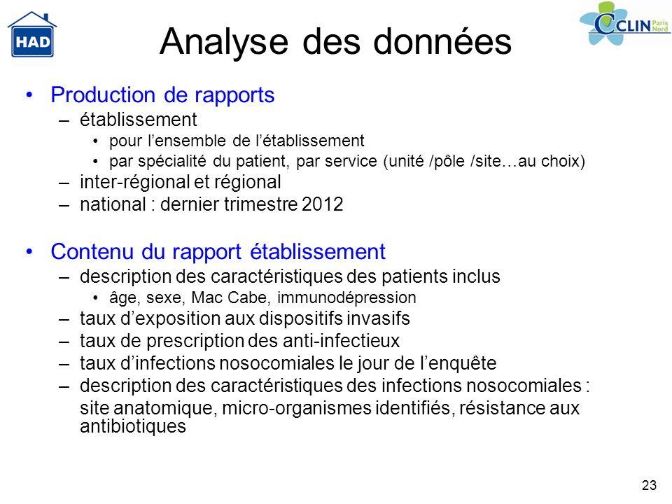 Analyse des données Production de rapports