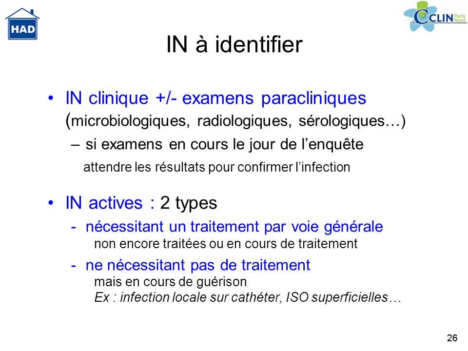 IN à identifier IN clinique +/- examens paracliniques (microbiologiques, radiologiques, sérologiques…)