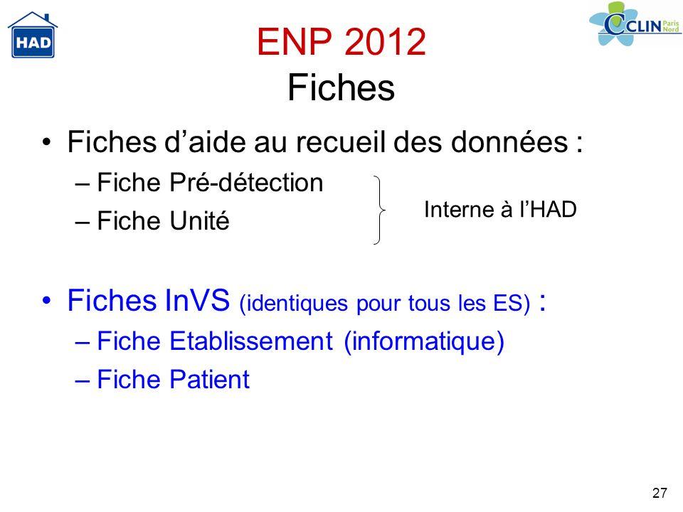 ENP 2012 Fiches Fiches d'aide au recueil des données :
