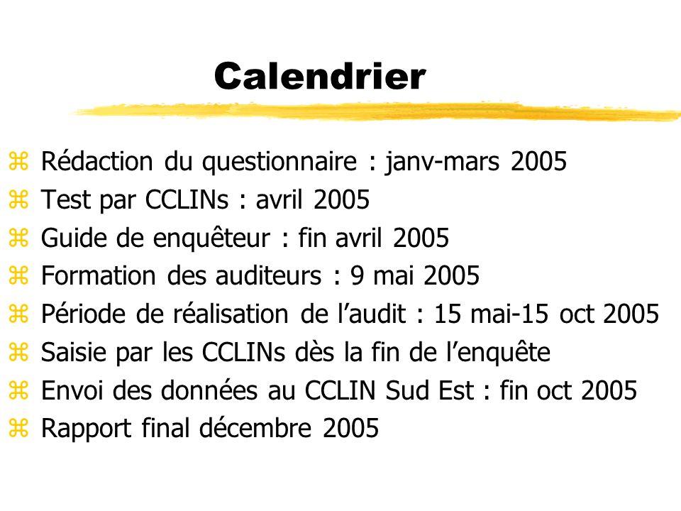 Calendrier Rédaction du questionnaire : janv-mars 2005