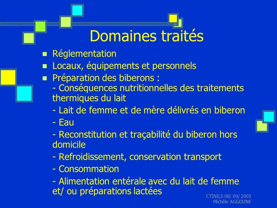 Domaines traités Réglementation Locaux, équipements et personnels