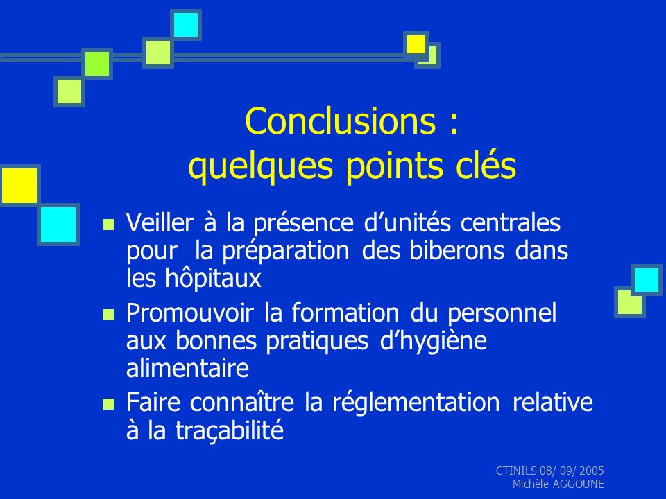 Conclusions : quelques points clés
