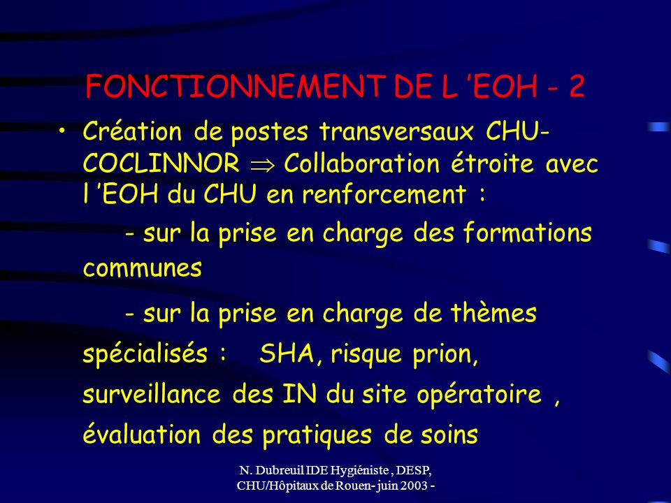 FONCTIONNEMENT DE L 'EOH - 2
