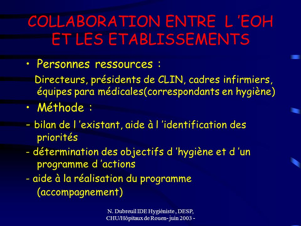 COLLABORATION ENTRE L 'EOH ET LES ETABLISSEMENTS