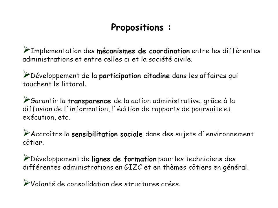 Propositions : Implementation des mécanismes de coordination entre les différentes administrations et entre celles ci et la société civile.