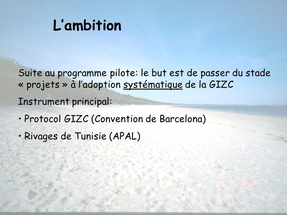 L'ambition Suite au programme pilote: le but est de passer du stade « projets » à l'adoption systématique de la GIZC.