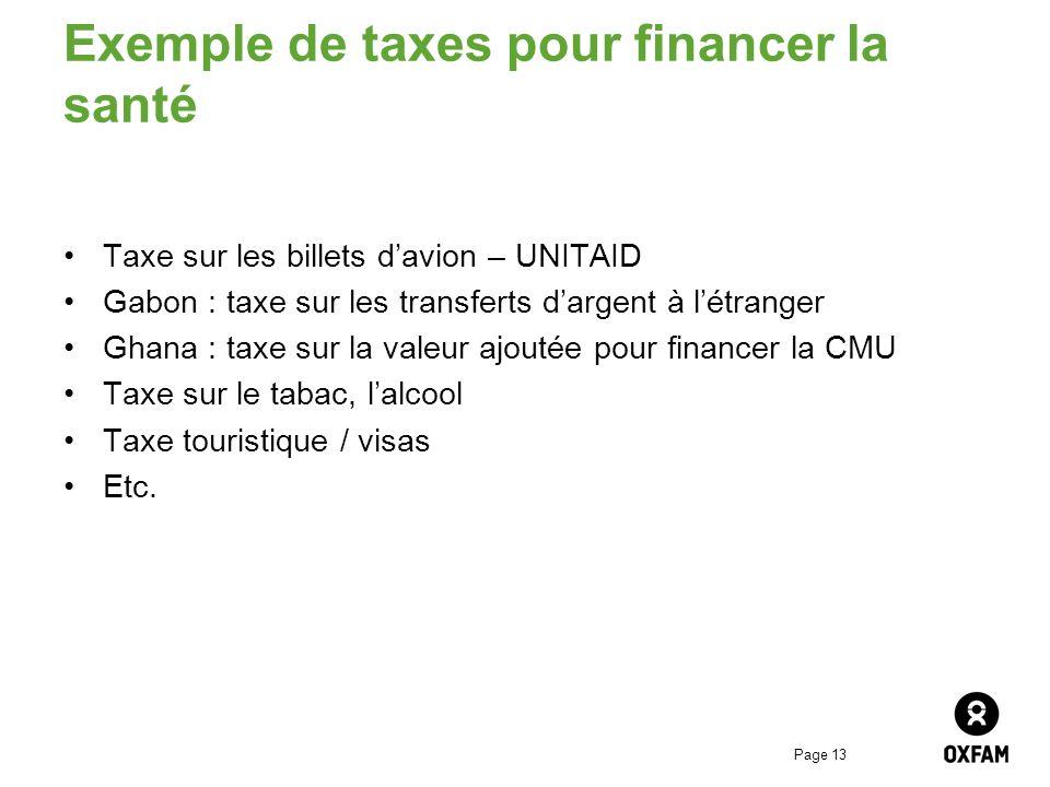 Exemple de taxes pour financer la santé