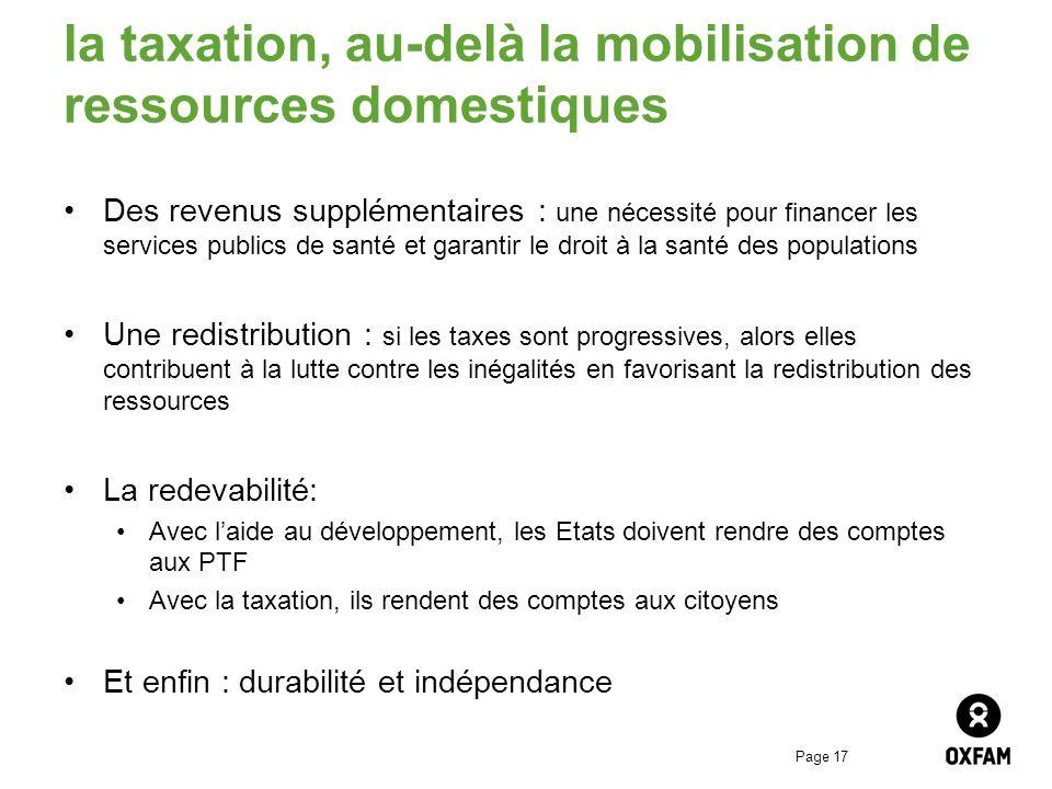 la taxation, au-delà la mobilisation de ressources domestiques
