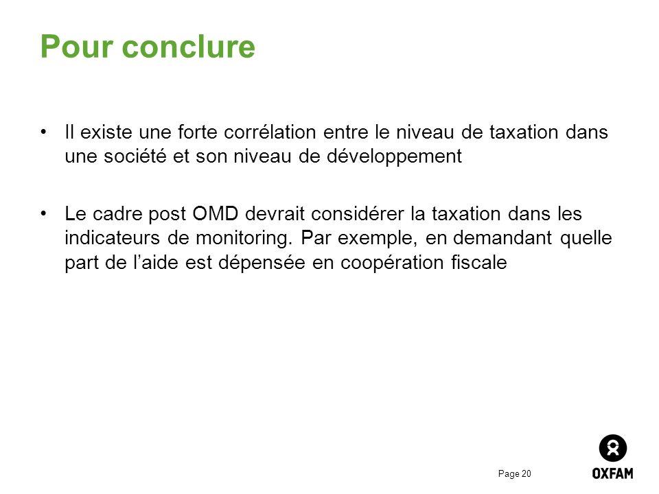 Pour conclure Il existe une forte corrélation entre le niveau de taxation dans une société et son niveau de développement.