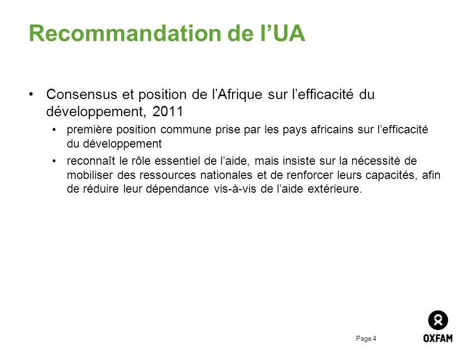 Recommandation de l'UA
