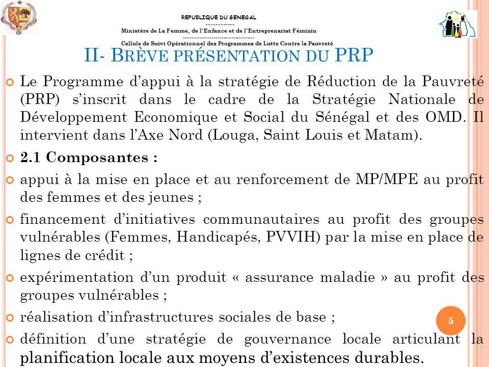 II- Brève présentation du PRP