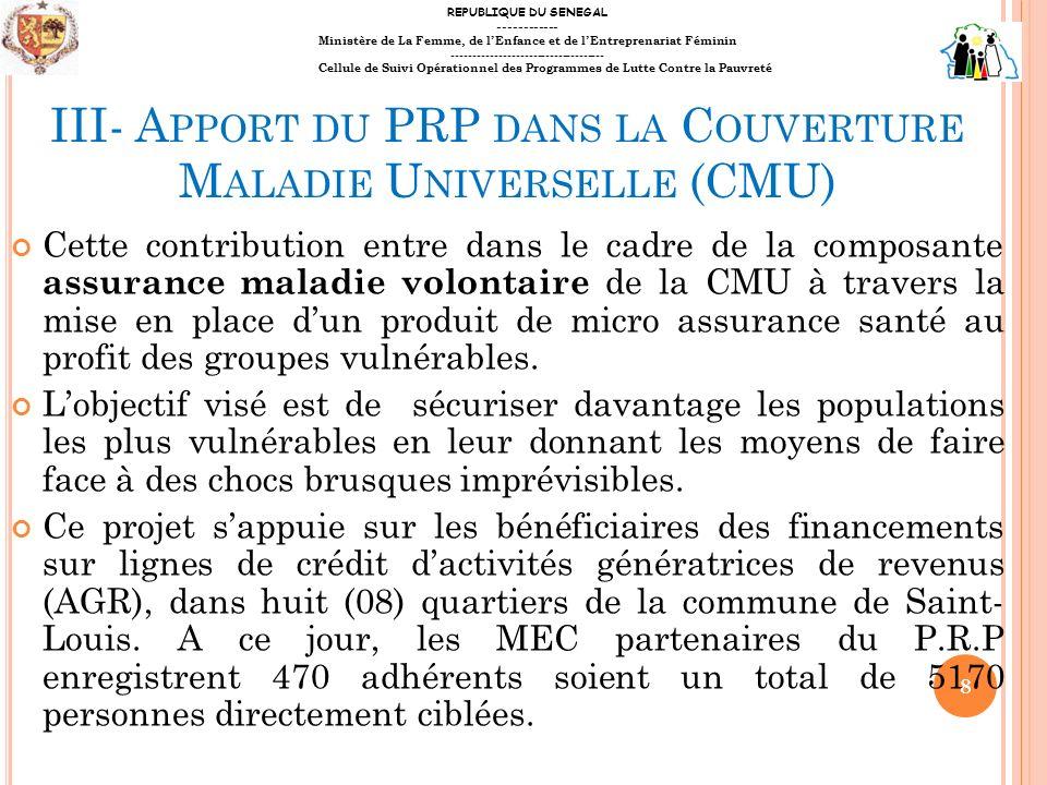 III- Apport du PRP dans la Couverture Maladie Universelle (CMU)