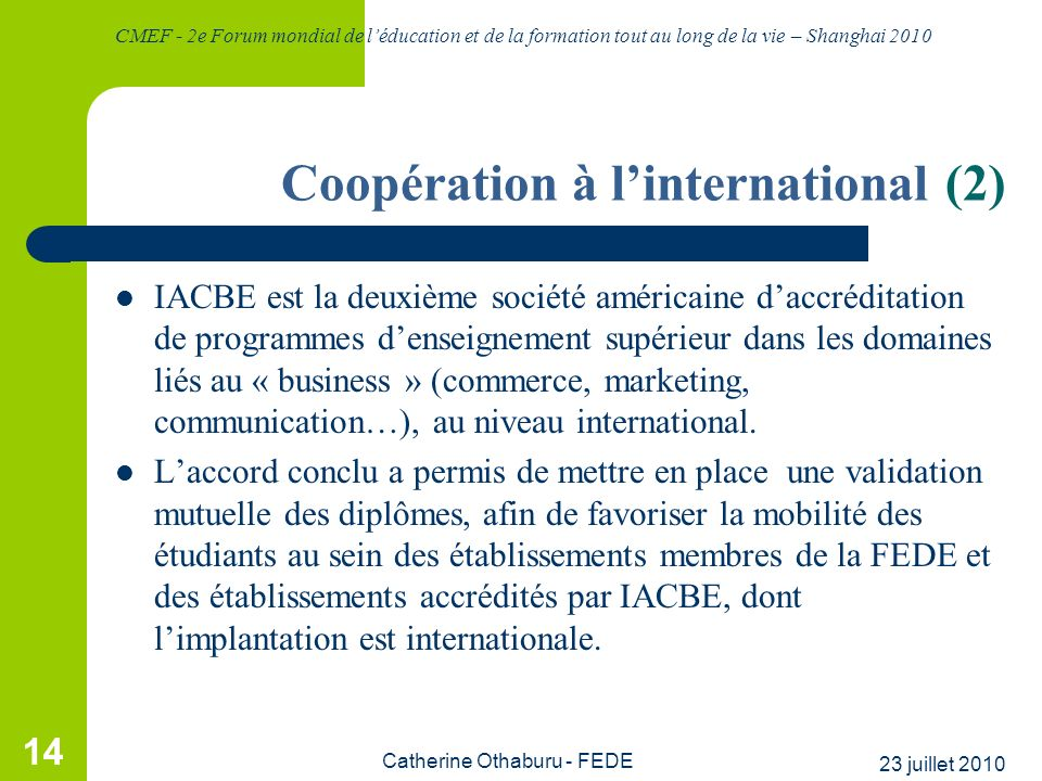 Coopération à l'international (2)