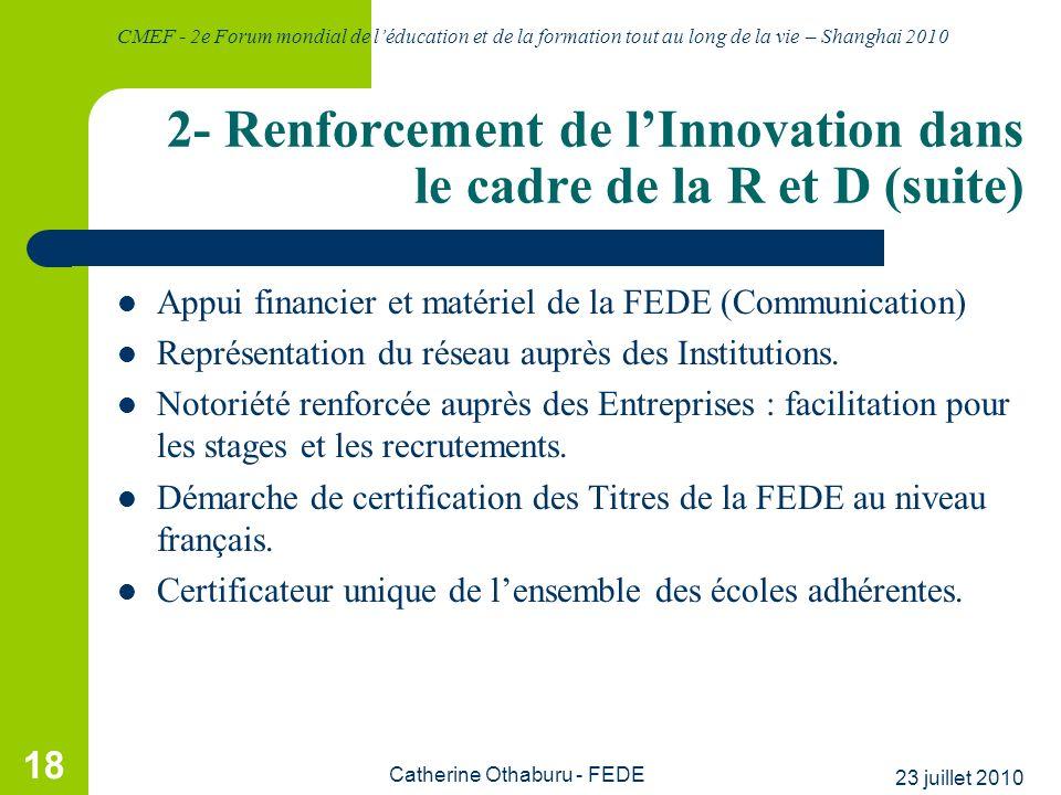 2- Renforcement de l'Innovation dans le cadre de la R et D (suite)