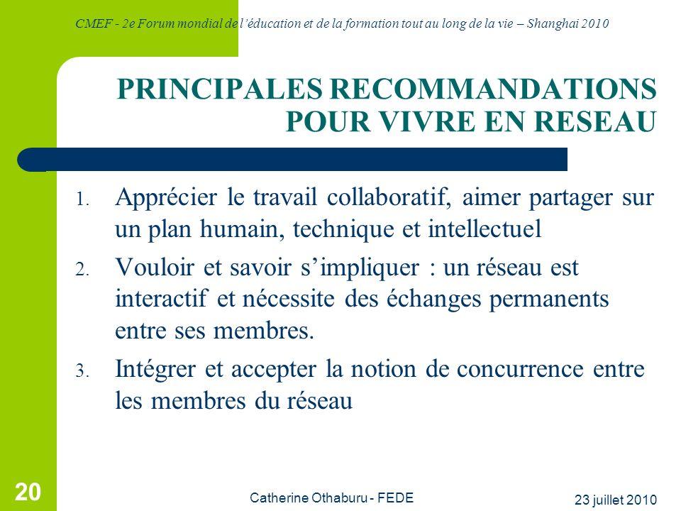 PRINCIPALES RECOMMANDATIONS POUR VIVRE EN RESEAU