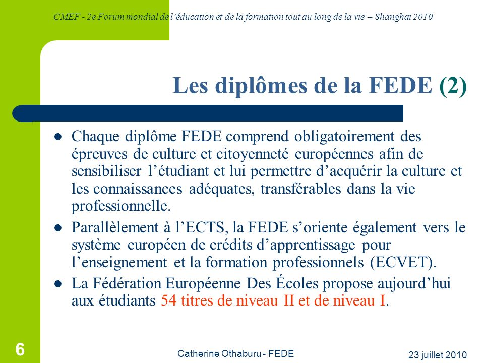 Les diplômes de la FEDE (2)