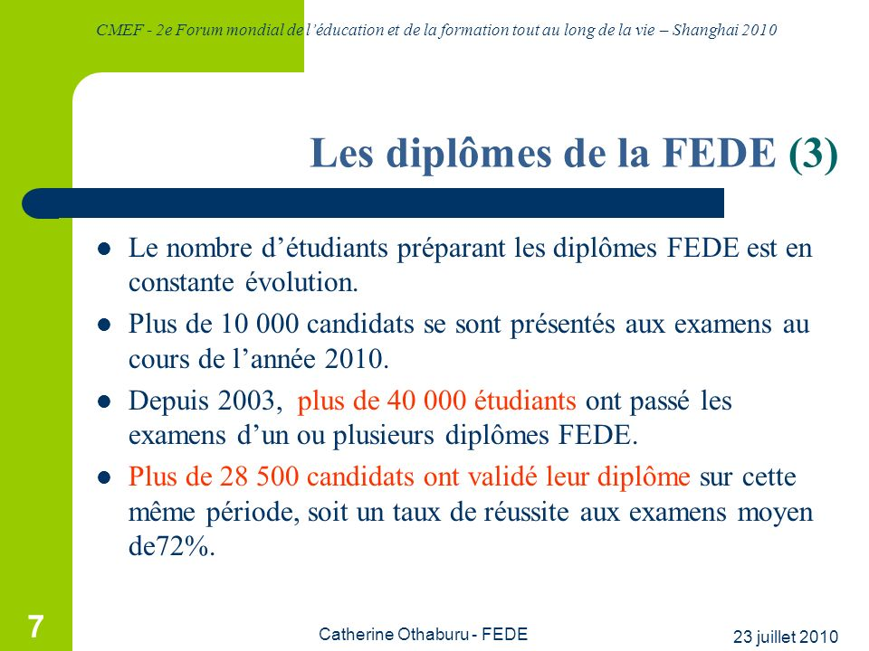 Les diplômes de la FEDE (3)