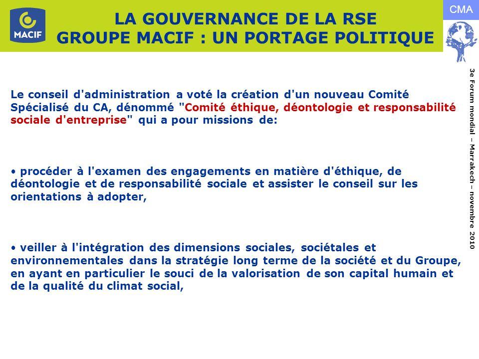 LA GOUVERNANCE DE LA RSE GROUPE MACIF : UN PORTAGE POLITIQUE