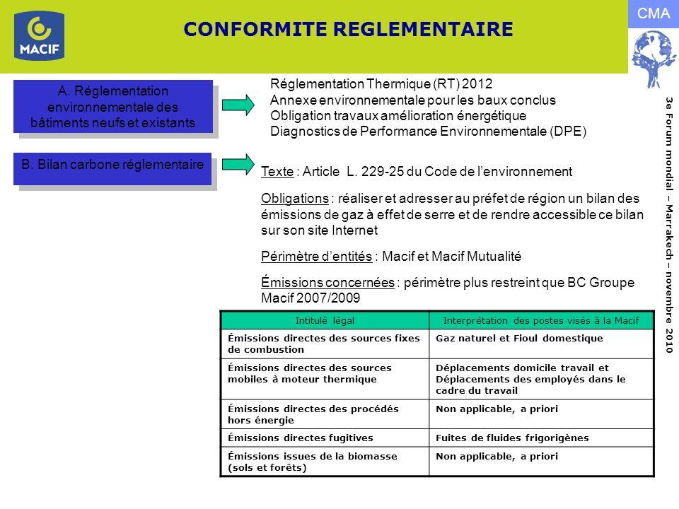 CONFORMITE REGLEMENTAIRE