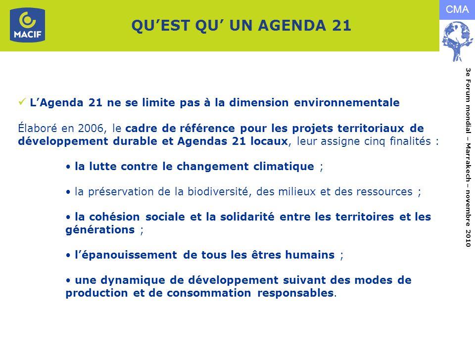 QU'EST QU' UN AGENDA 21  L'Agenda 21 ne se limite pas à la dimension environnementale.