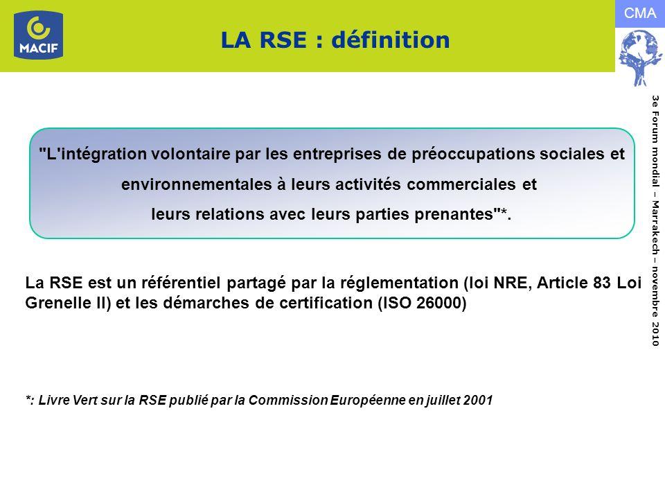 LA RSE : définition L intégration volontaire par les entreprises de préoccupations sociales et. environnementales à leurs activités commerciales et.