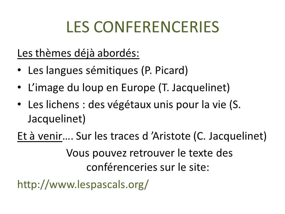 Vous pouvez retrouver le texte des conférenceries sur le site: