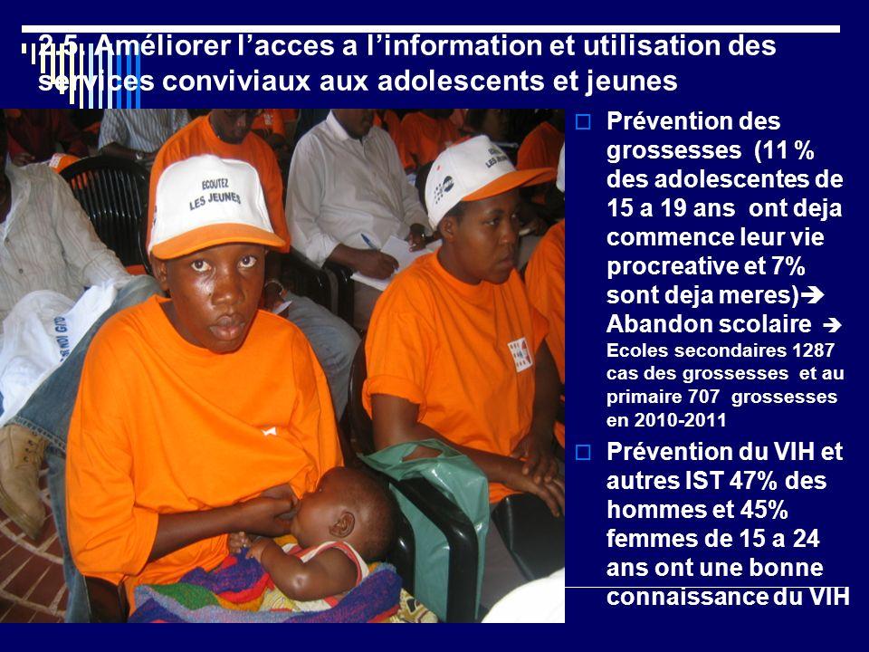 2.5. Améliorer l'acces a l'information et utilisation des services conviviaux aux adolescents et jeunes