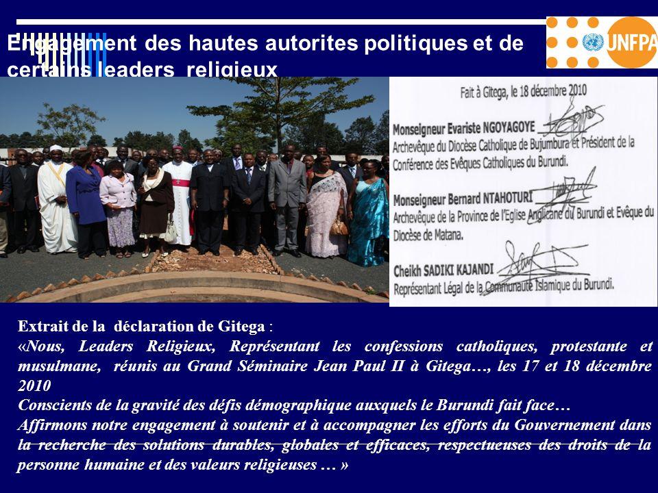 Engagement des hautes autorites politiques et de certains leaders religieux