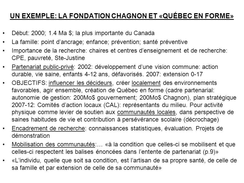 UN EXEMPLE: LA FONDATION CHAGNON ET «QUÉBEC EN FORME»