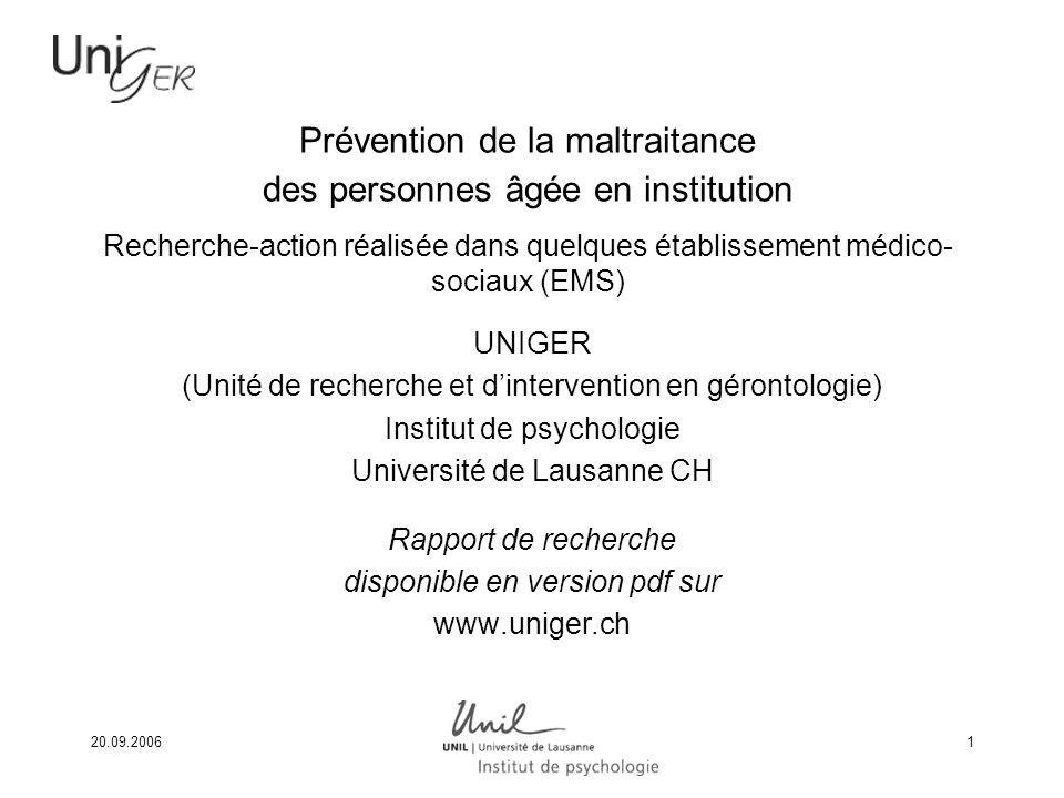 Prévention de la maltraitance des personnes âgée en institution Recherche-action réalisée dans quelques établissement médico-sociaux (EMS)