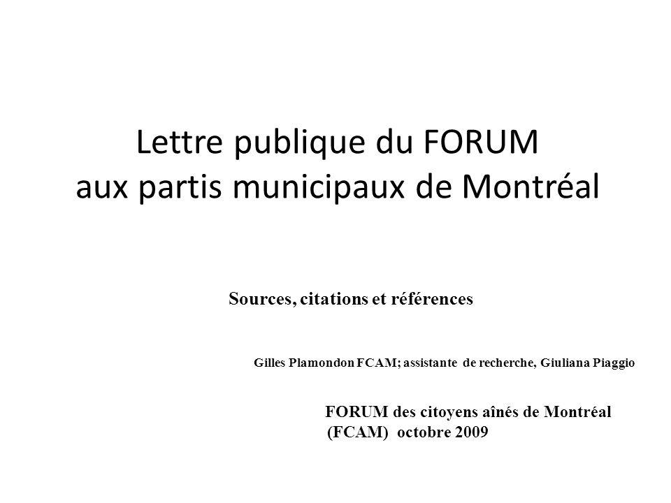 Lettre publique du FORUM aux partis municipaux de Montréal