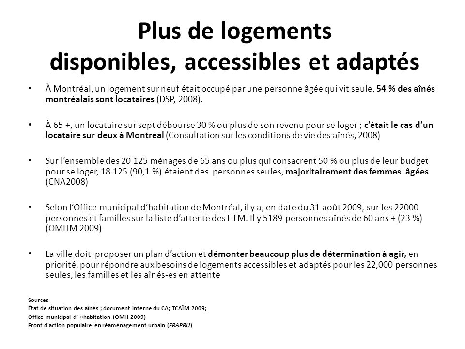 Plus de logements disponibles, accessibles et adaptés