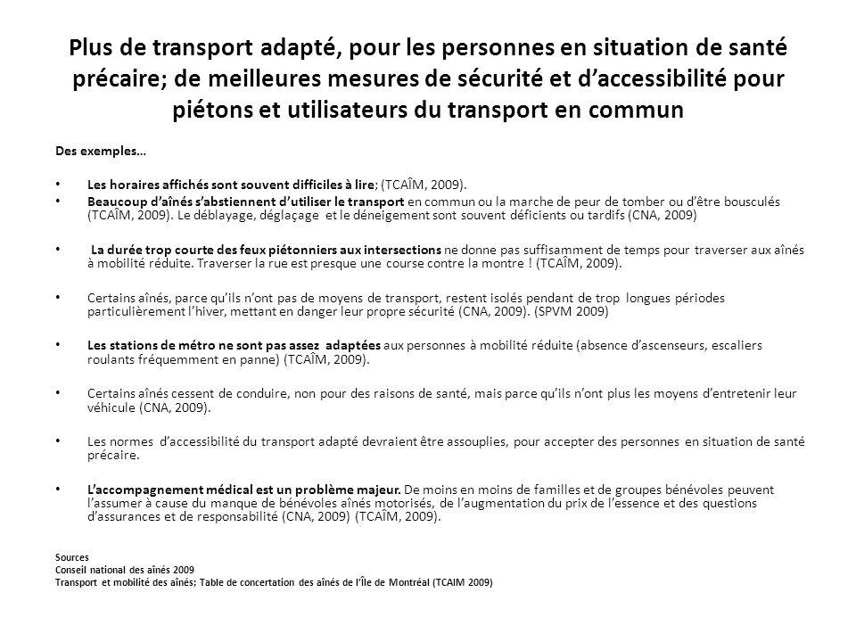 Plus de transport adapté, pour les personnes en situation de santé précaire; de meilleures mesures de sécurité et d'accessibilité pour piétons et utilisateurs du transport en commun