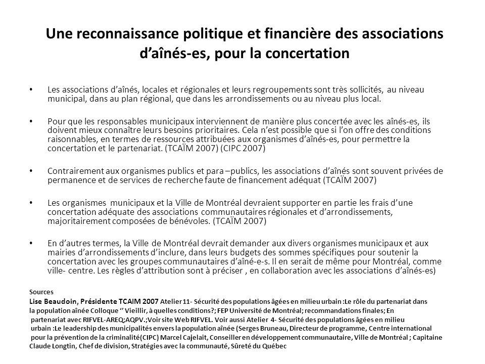 Une reconnaissance politique et financière des associations d'aînés-es, pour la concertation