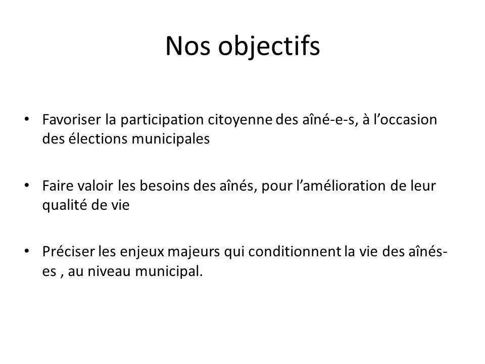 Nos objectifsFavoriser la participation citoyenne des aîné-e-s, à l'occasion des élections municipales.