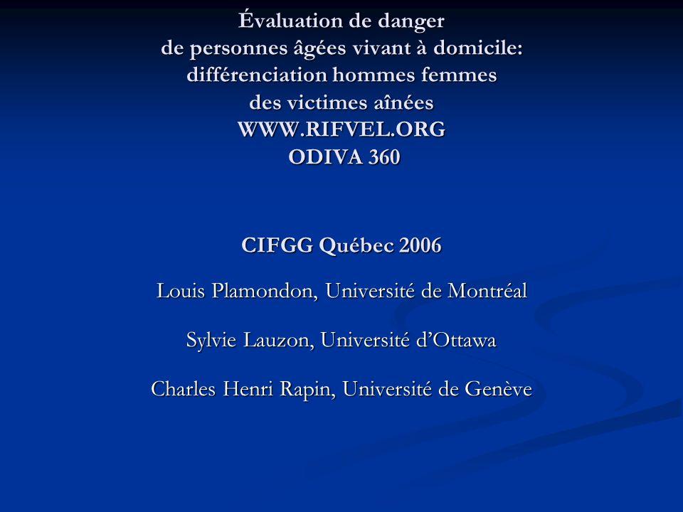 Évaluation de danger de personnes âgées vivant à domicile: différenciation hommes femmes des victimes aînées WWW.RIFVEL.ORG ODIVA 360 CIFGG Québec 2006