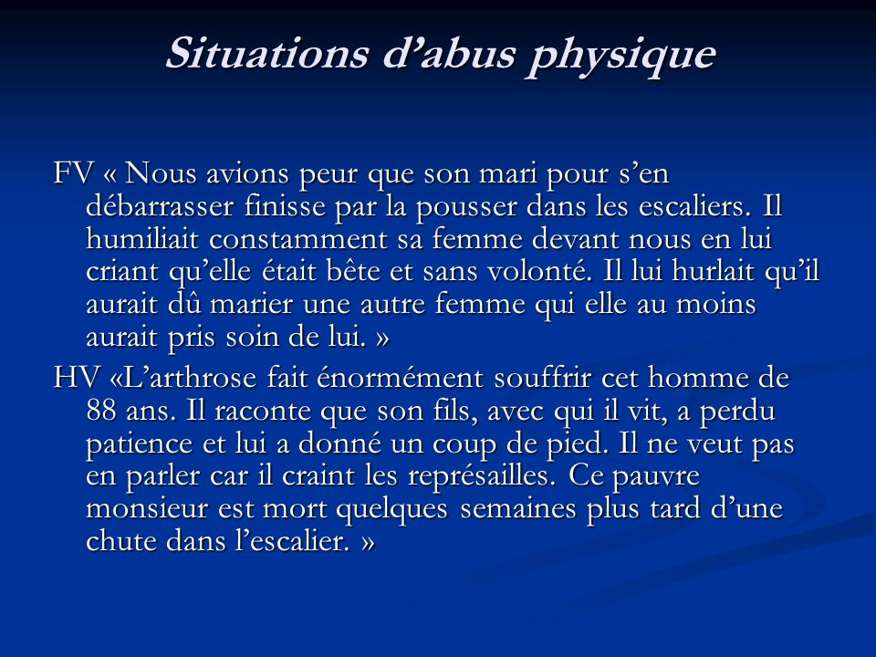 Situations d'abus physique