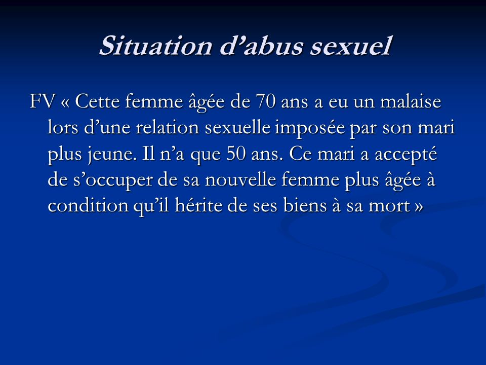 Situation d'abus sexuel