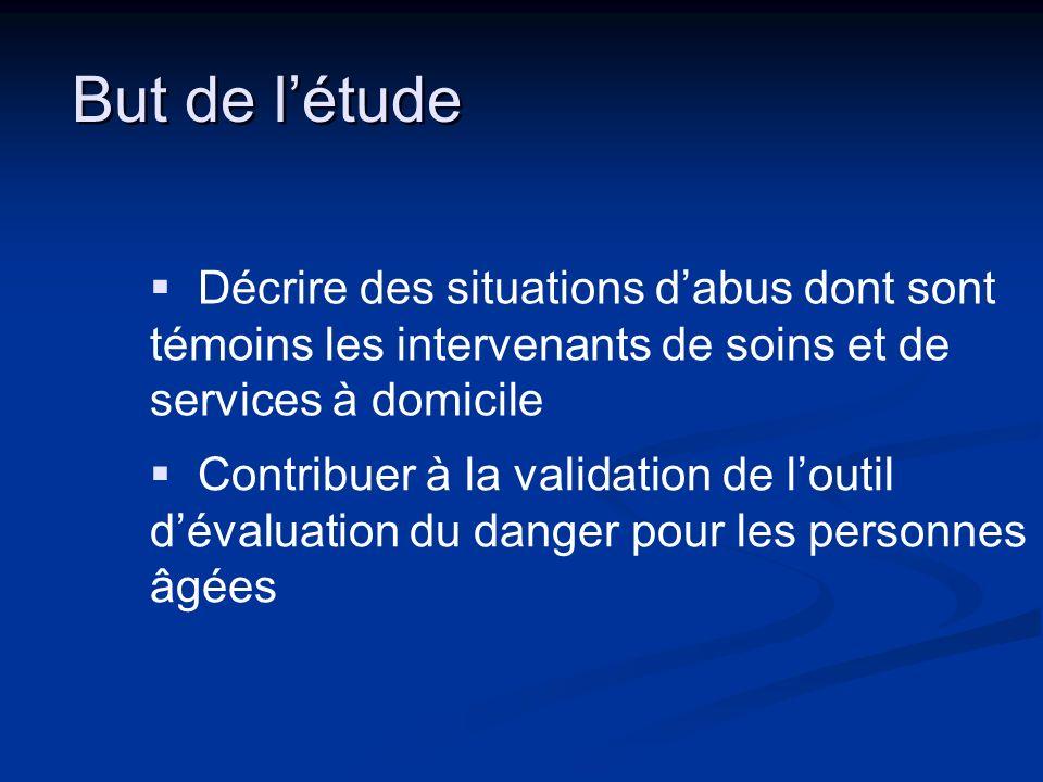 But de l'étude Décrire des situations d'abus dont sont témoins les intervenants de soins et de services à domicile.