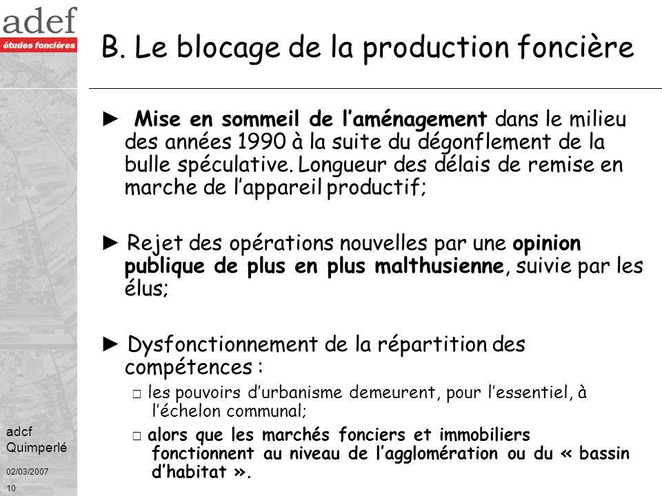 B. Le blocage de la production foncière