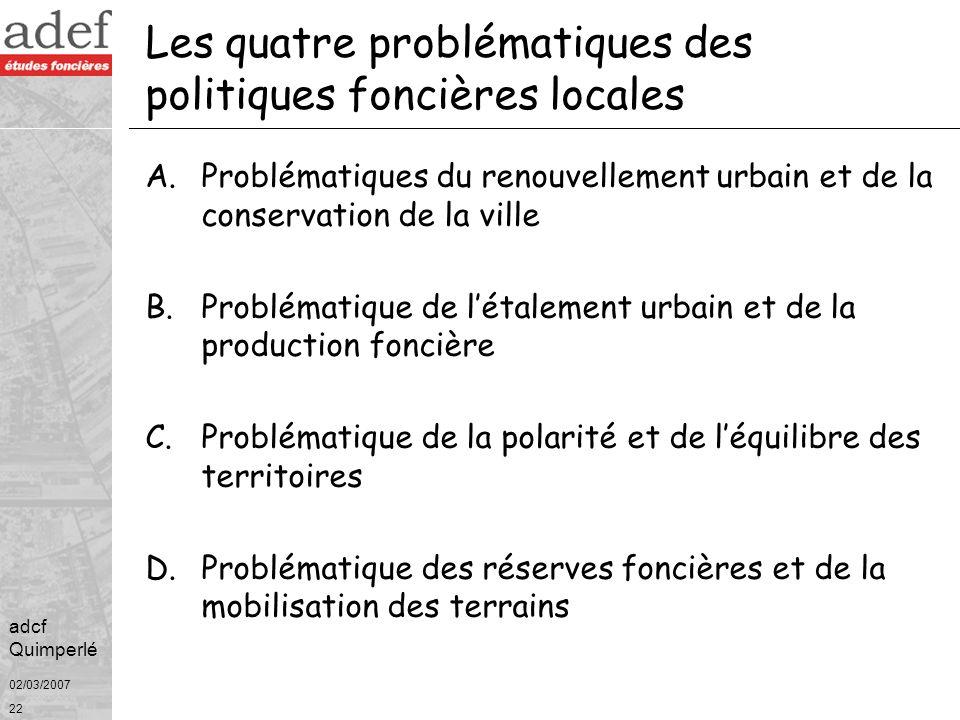 Les quatre problématiques des politiques foncières locales
