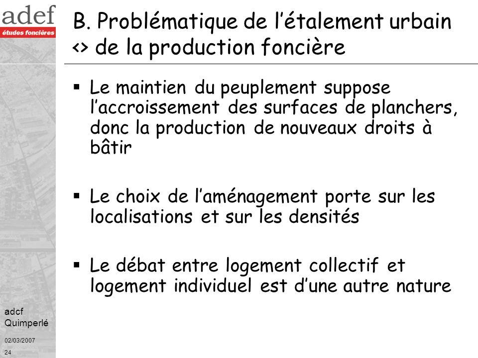 B. Problématique de l'étalement urbain <> de la production foncière
