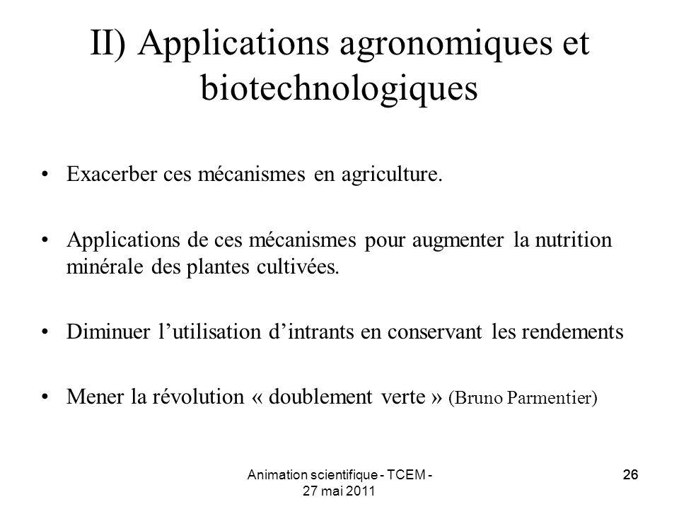 II) Applications agronomiques et biotechnologiques