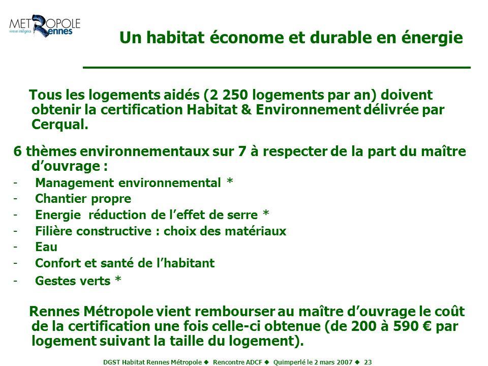 Un habitat économe et durable en énergie