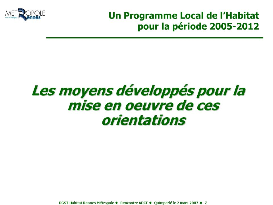 Un Programme Local de l'Habitat pour la période 2005-2012