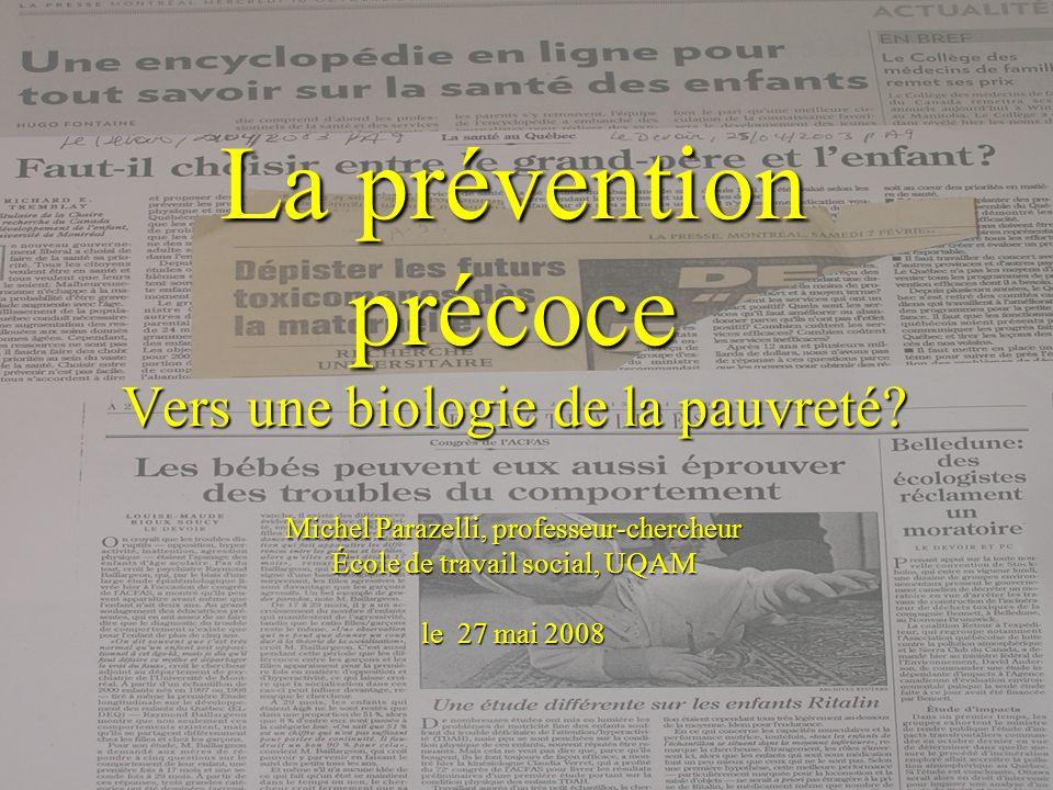 La prévention précoce Vers une biologie de la pauvreté